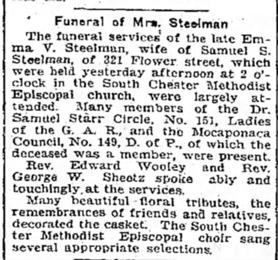 - Funeral of Mr». Steriman The funeral services'...