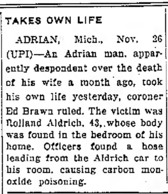 Tuesday November 26,1963 Traverse City Record- Eagle - and TAKES OWN LIFE ADRIAN, Mich., Nov. 2G...