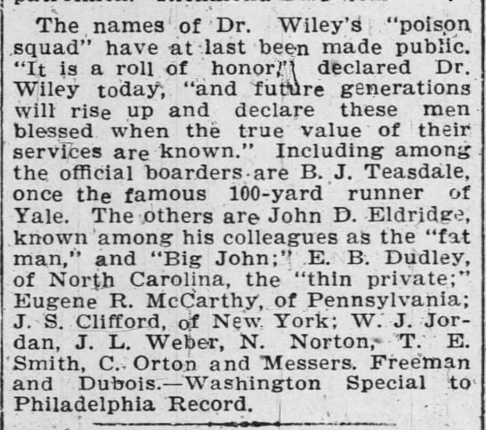 "Names of some of the original Poison Squad, 1903 - The names of Dr. Wiley ""poison .squad"" have at..."