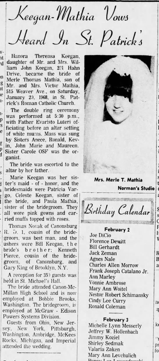 Hanora Thereasa Keegan The Daily Notes Canonsburg Feb 2, 1968 - Jeeaan- Jeeaan- rll 'ow$ athia Uo Hanora...