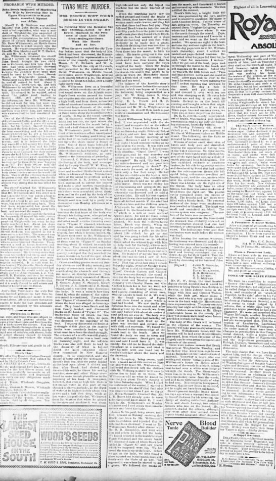Brock murder 8 Feb 1864 - PROBABLE VrVFE MURDER. John Brock mectel of...