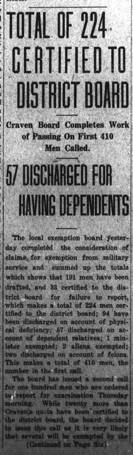 Draft Exemption update (Pt. 1) 1917 - TOTAL OF 224 CERTIFIED TO Craven, Board...