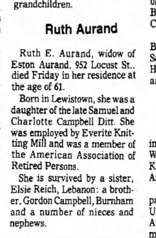 - grandchildren. Ruth Aurand Ruth E. Aurand,...