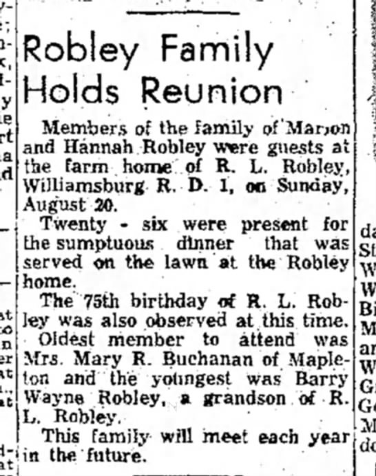 "Robley Union TDN, 29 aug 1961 - to in tho ln ""** Robley Family Holds Reunion..."