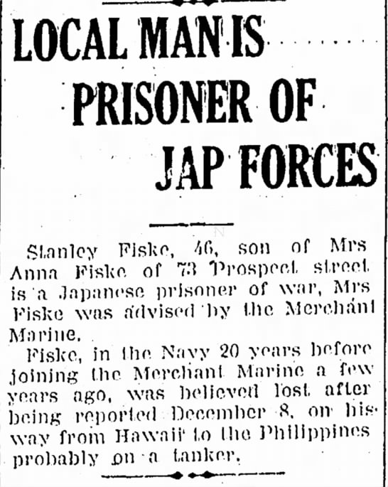 Stanley Fiske Naugatuck Daily News 6-19-1942 - LOCAL mm PRISONER OF JAP FORCES Stanley Fiske,...