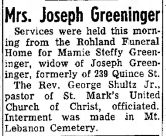- Mrs. Joseph Greeninger Services were held this...
