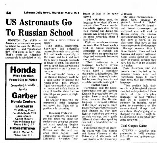 Anatole Forostenko - Lebanon DaiJy News, Thursday, May 1, 1974 US...