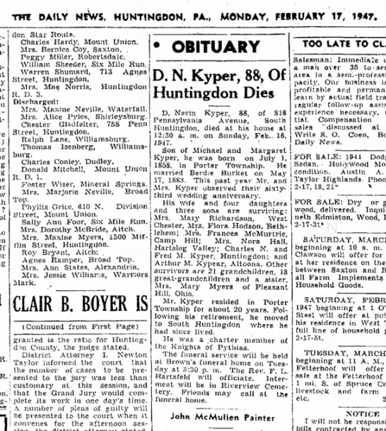Dean Nevin Kyper (1858-1947) Pg 3 Col 4 - DAILY NEWS, HUNTINGDON, PA., MONDAY, MiRUAHY...