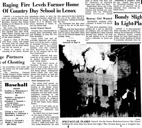 Berkshire Eagle 7 Aug 1965 - Raging Fire Levels Former Home Of CmmtI T Da y...