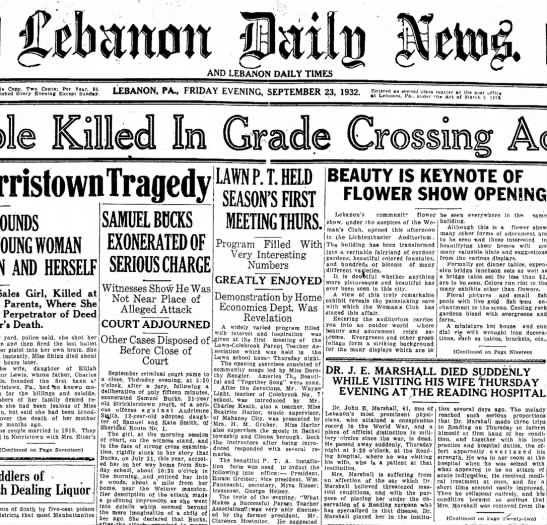 "22 Sept 1932.  Dr. John Edward ""Ed"" Marshall Died Suddenly (1) [Lebanon Daily News] - AND LEBANON DAILY TIMES Copy, Two Cents: Per..."