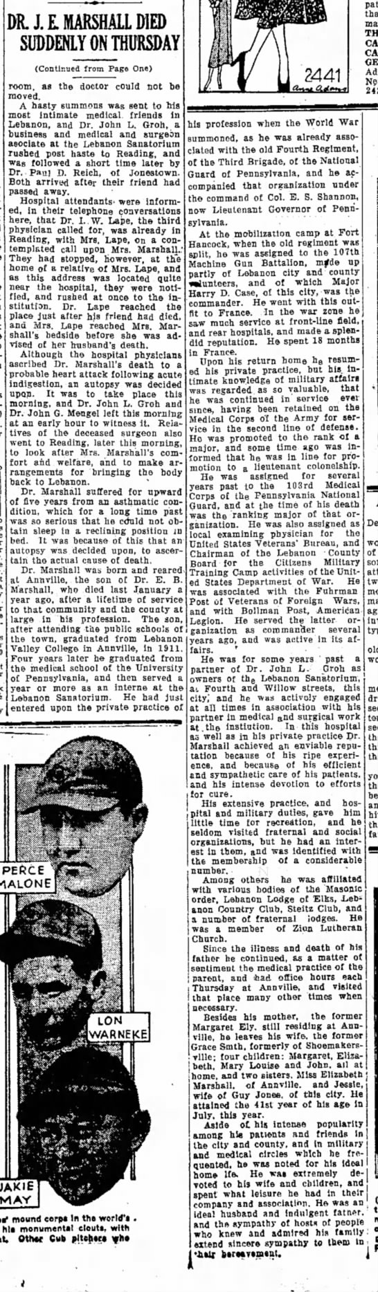 "22 Sept 1932.  Dr. John Edward ""Ed"" Marshall Died Suddenly (2) [Lebanon Daily News] - DR. J. E. MARSHALL DIED SUDDEEY ON THURSDAY..."