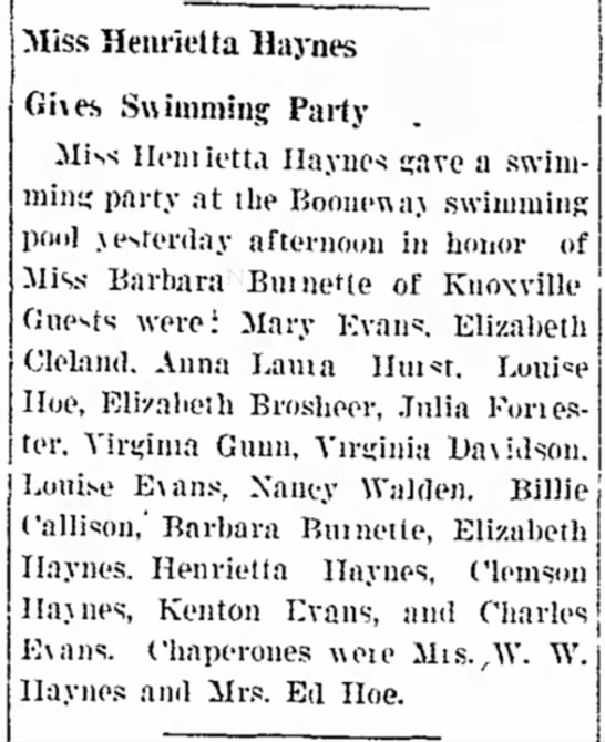 Virginia Davidson - choice Miss Henrietta llaynes j Giies Swimming...