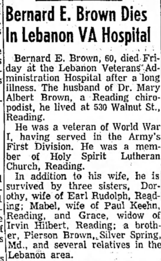 Bernard Brown Obit Nov 21 1960, p. 2 - Bernard E. Brown Dies In Lebanon VA Hospital...
