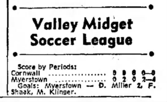 LEBANON VALLEY MIDGET SOCCER - Valley Midget Soccer League Score by Periods!...