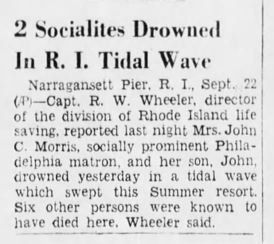Two of the Rhode Island deaths from 1938 hurricane -