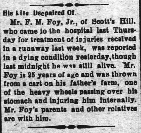 "f.m. foy accident - His ills Dsepalred Of..: I C'"" , Mr. F. M. Foy,..."
