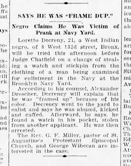 Trial - Loretto De Creny - stolen watch Brooklyn Daily Eagle - 1-14-1918 - the The expressed will express the hail...