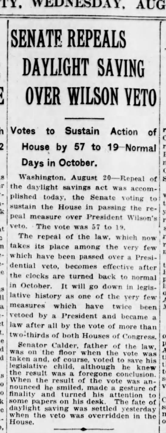 WWI daylight saving time repealed, 1919 - WEDNESDAY. May-er's in-I j a Gurri-son SENATE...