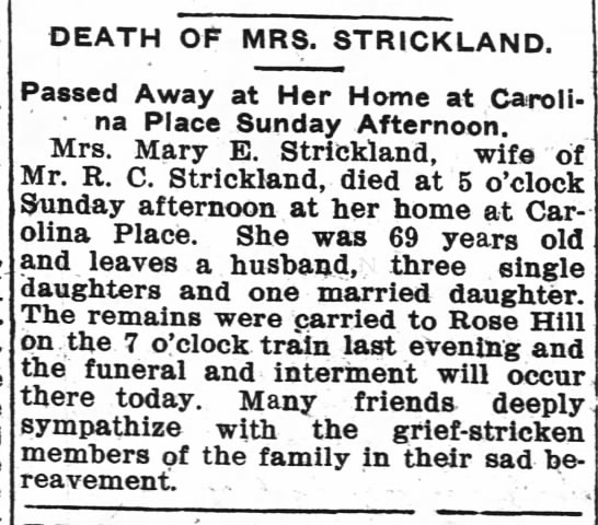 Mary E Burnham Strickland - DEATH OF MRS. STRICKLAND. Passed Away at Her...