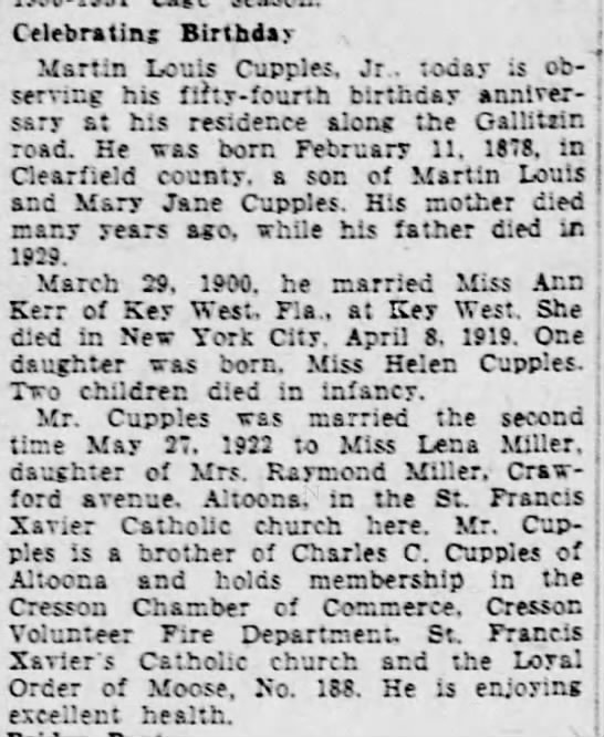 Martin Louis Cupples Altoona Tribune 11 Feb 1932 - Celebrating Birthday j Martin Louis Cupples, Jr...