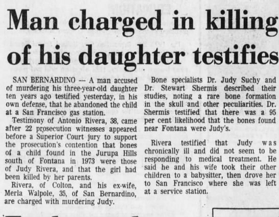Feb 26, 1975 Judy Rivera - Man charged in killing of his daughter...