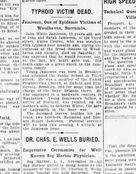 "Jamieson typhoid victim 18 Nov 1912 Brooklyn Daily Eagle - till you was ""El's"" him for regardless to River..."