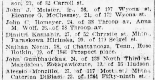 The Brooklyn Eagle 2 Feb 1910 - Johnson, 21, of 82 Carroll st. John J. '...