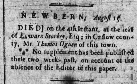 ADD Died at the Feat of Edward Starkey Esq; in Onslow Mr. Thomas Ogden 15 Aug 1787??? - dif-' j wi .lumuanc, at tne iea c(S.aivam...