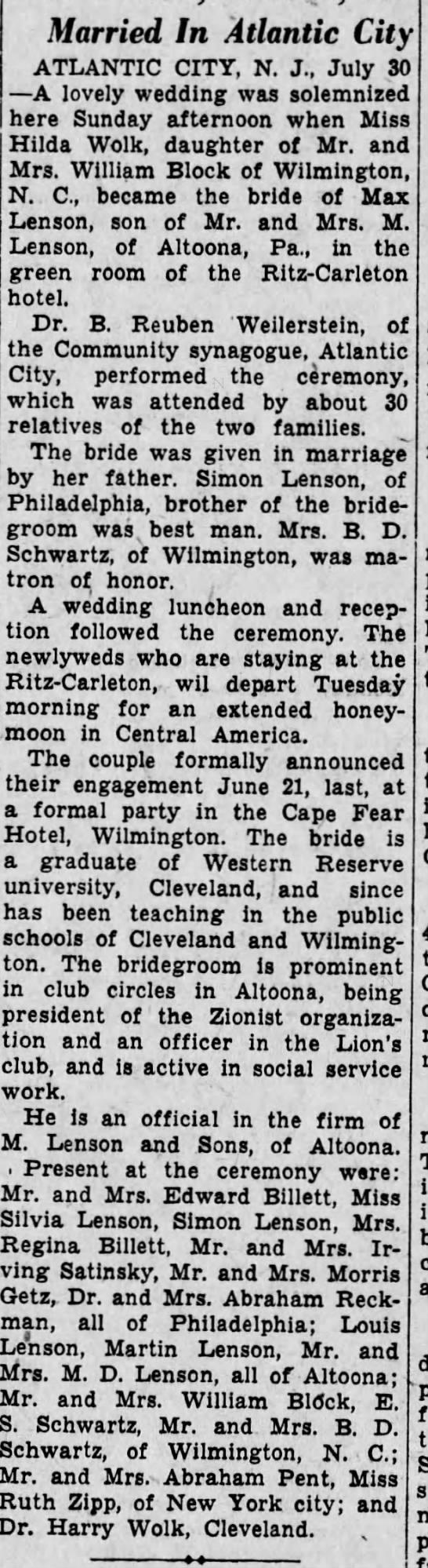 Max and Hilda's Wedding-31 July 1934 - Married In Atlantic City ATLANTIC CITT, N. J.,...