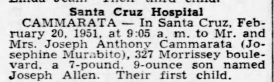 J. Cammarata Birth - 1951 - Santa Cruz Hospital CAMMARATA In Santa Cruz....