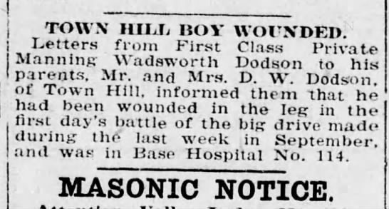 Dodson 1 Nov 1918 - TOWN HILL HOY WOUNDED. Letters from First Class...