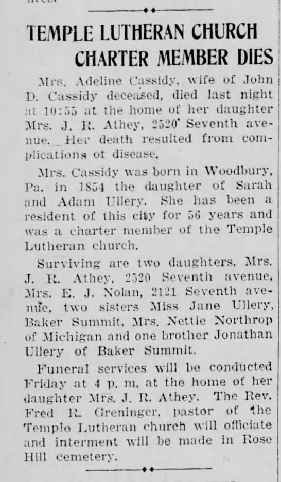 Grand aunt Adeline Ulery sister to great grandfather John Ulery. - TEMPLE LUTHERAN CHURCH CHARTER MEMBER DIES Mrs....