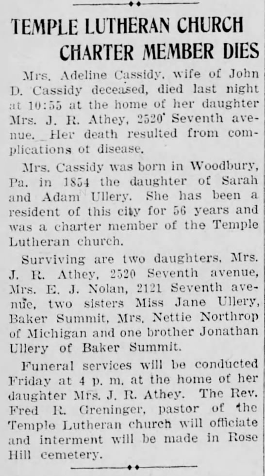 Grand aunt Adeline Ulery, sister to great grandfather John Ulery. - TEMPLE LUTHERAN CHURCH CHARTER MEMBER DIES Mrs....