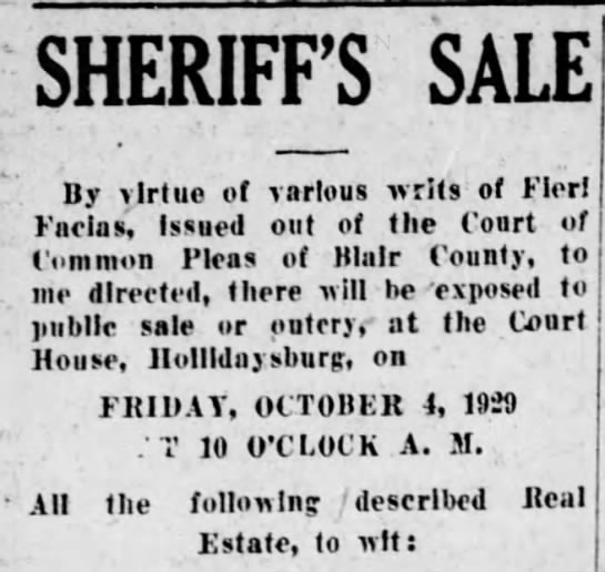 Sheriff Sale-26 September 1929 - SHERIFFS SALE -By virtue of various writs of...