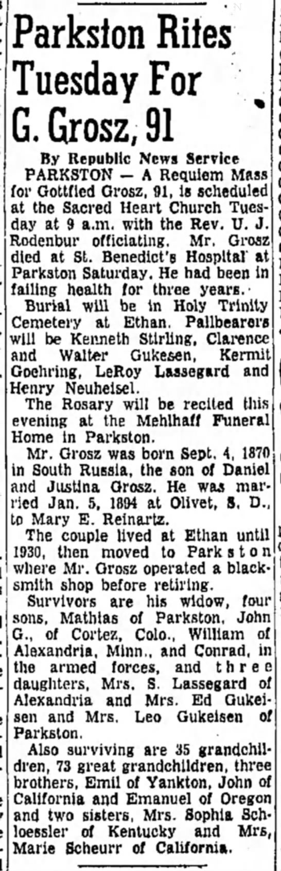 GOTTFRIED GROSZ - Parkston Rites Tuesday For G. Grosz, 91 By...