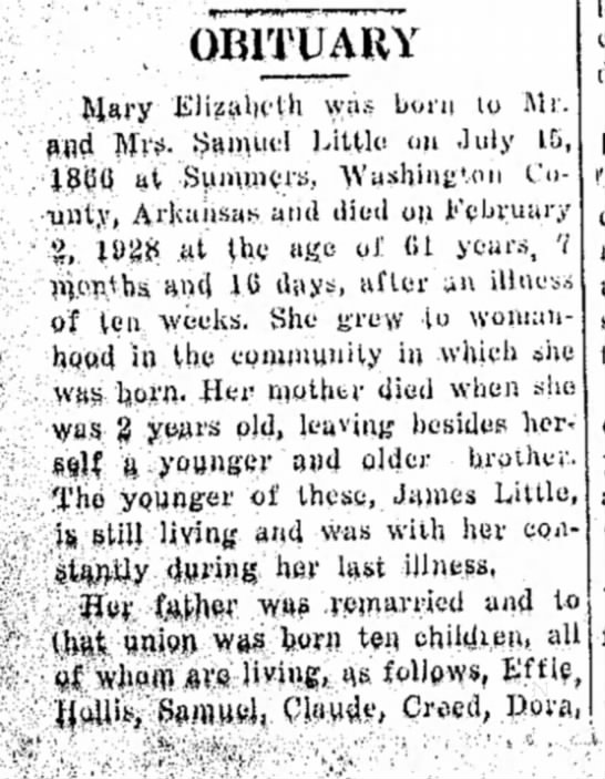 The Perry Journal (Perry, Oklahoma - 7 Feb 1928 - page 2 - OBITUARY was bora to Mr. and Mrs. Samuel Little...