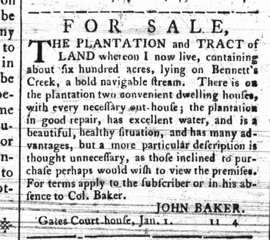 plantation on Bennett's creek - be to .1 n be of I bt- THE PLANTATION and TRACT...