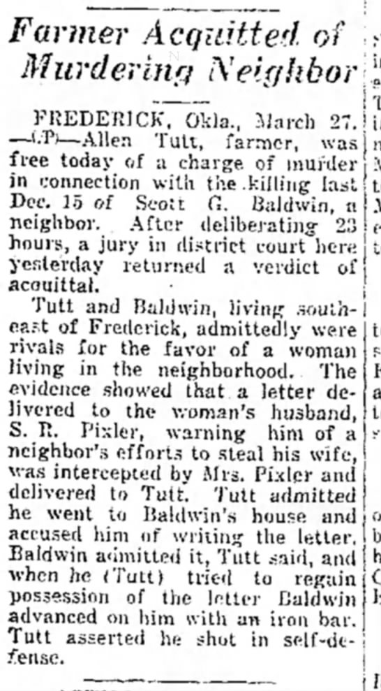 Miami Daily News-Record, Miami OK  27 Mar 1929 - Farmer Acquitted of Murdering Neighbor -i! , '...