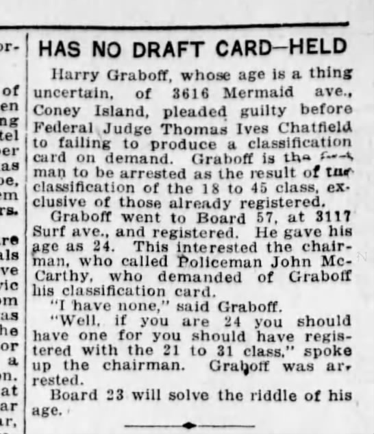 HARRY GRABOFF - of has are the a at HAS NO DRAFT CARD-HELD...