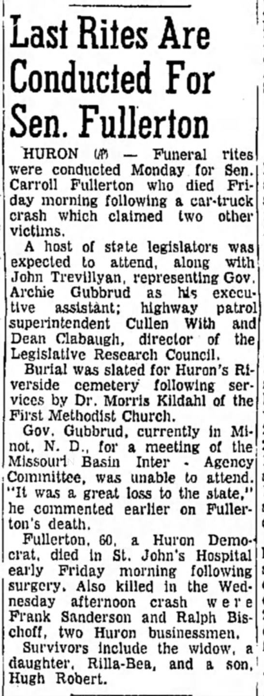 Last Rites for Carroll Fullerton - 23 October 1961 - Daily Republic, Mitchell SD - Last Rites Are Conducted For Sen. Fullerton...