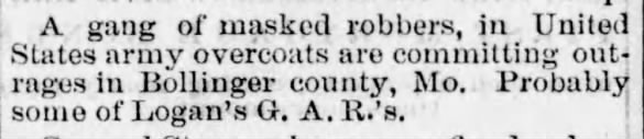 Union War Veterans Blamed for Robberies in Bollinger County, Missouri