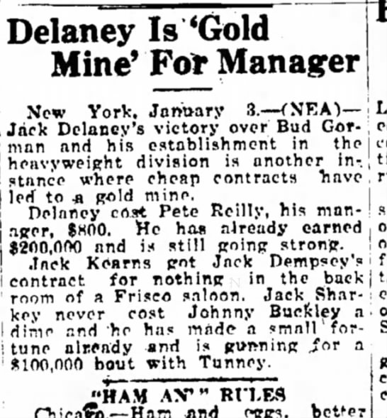 Buckley Tunney The Bismark Tribune ( Bismark, North Dakota ) 3 Jan 1927 Page 4 - Delaney Is 'Gold Mine' Fo Manager New York,...