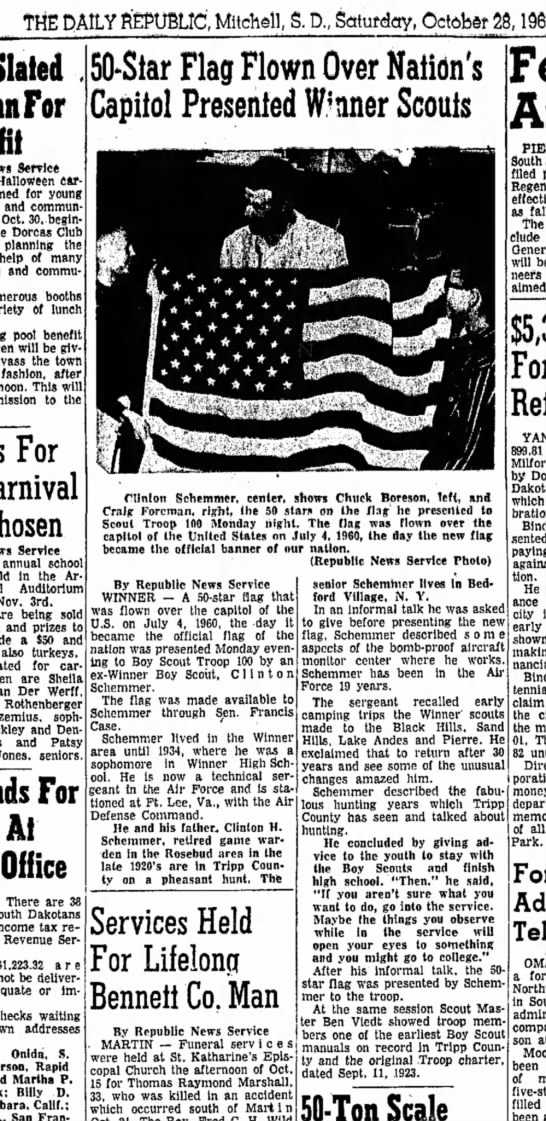 clinton Schemmer presents flag to scouts oct 28, 1961 - THE DAILY REPUBLIC, Mitchell, S. D, Sotufday,...