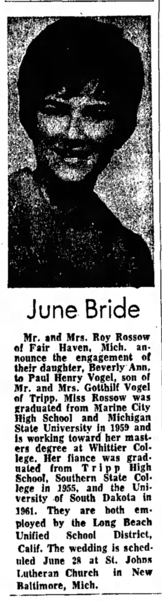 - June Bride Mr. and Mrs. Roy Rossow of Fair...