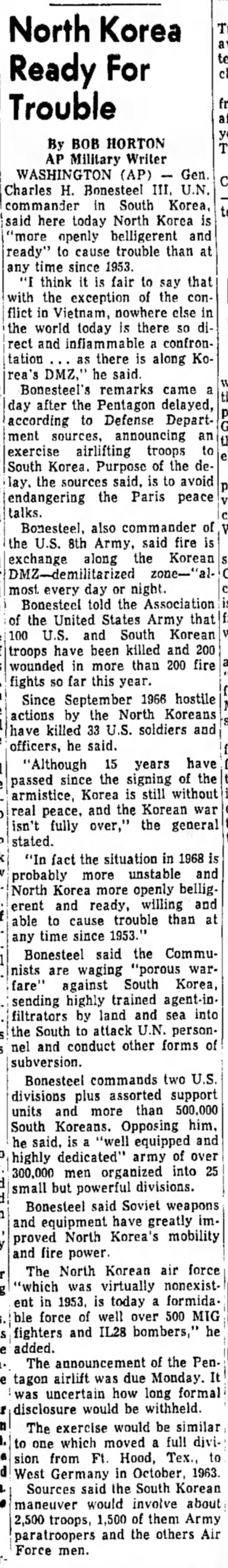 The Daily Republic (Mitchell, South Dakota) 29 October 1968 Page 3 - North Korea Ready For Trouble By BOB HORTON AP...