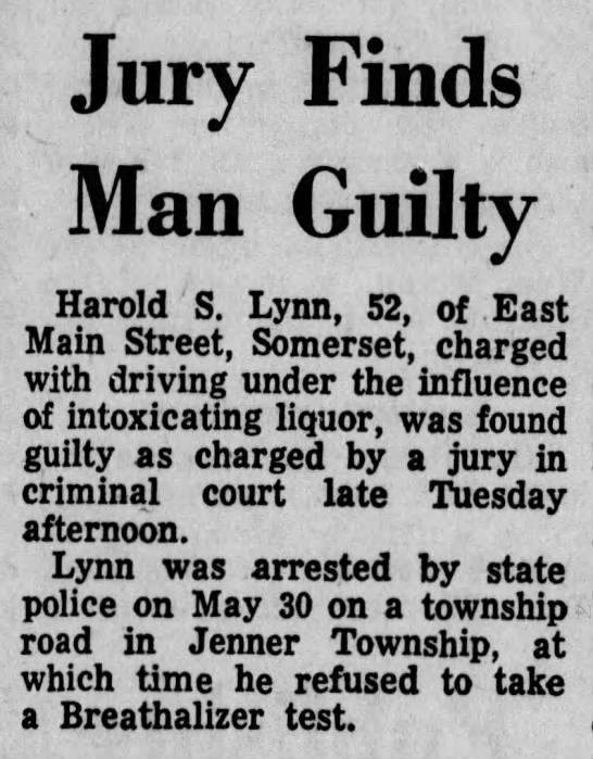 Harold S Lynn Somerset Daily American 22 Oct 1970 - Jury Finds Man Guilty Harold S. Lynn, 52, of...