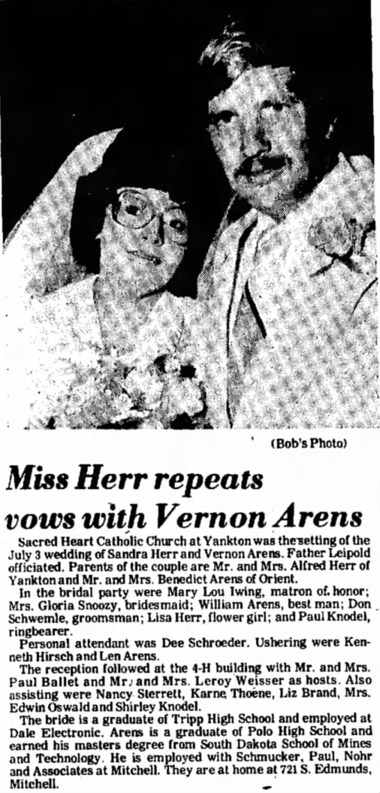 Vernon Arens wedding - ' (Bob's Photo) Miss Herr repeats vows with...