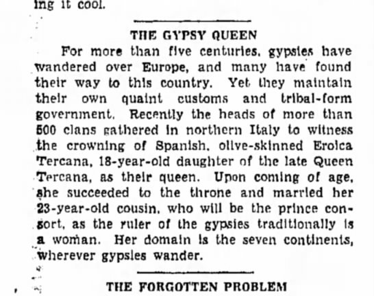 Queen Tercana - playing it cool. TOE GYPSY QUEEN For more than...