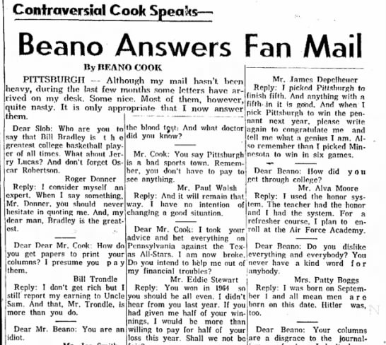 Bill Trondle - Controversial Cook Speak :s— Beano Answers Fan...