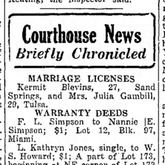 Miami daily News-Record (Miami, Oklahoma) 18 April 1930 - Courthouse News Briefly Chronicled MARRIAGE...